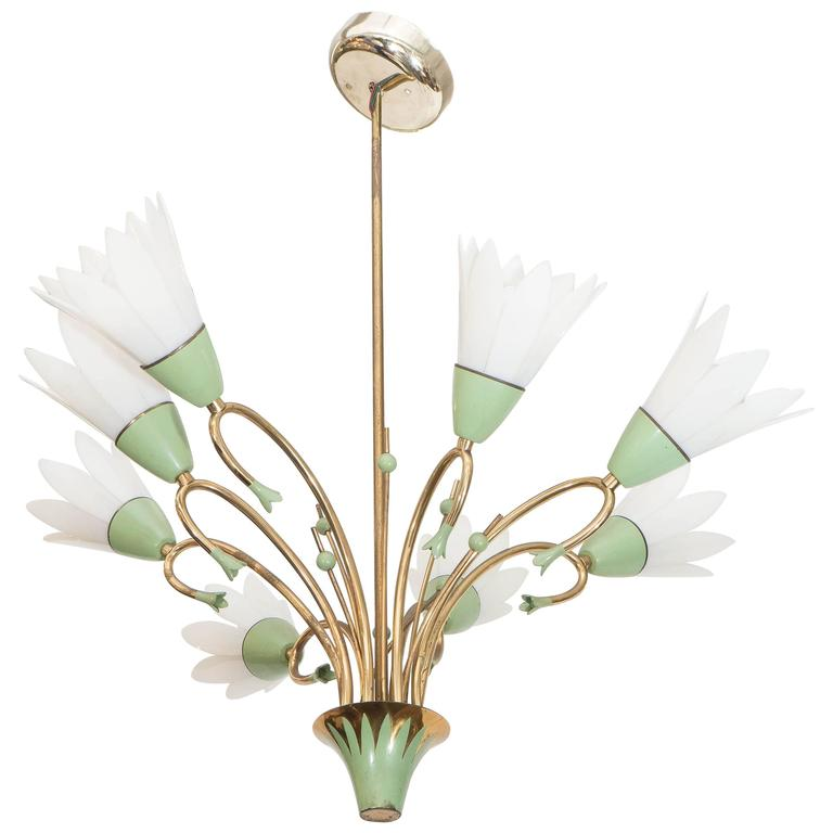 1960s Floral Eight-Light Chandelier