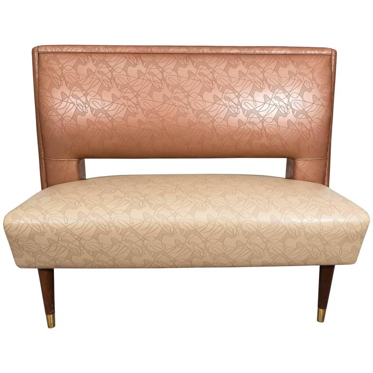 Brody Seating Co. Vinyl Settee or Banquette on Tapered Legs For Sale on