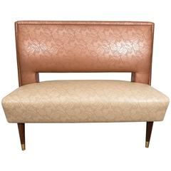 Brody Seating Co. Vinyl Settee or Banquette on Tapered Legs