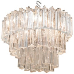 Venini Three-Tier Chandelier with Glass Triedri Prisms