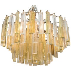 Venini Three-Tier Chandelier with Clear and Gold Glass Prisms