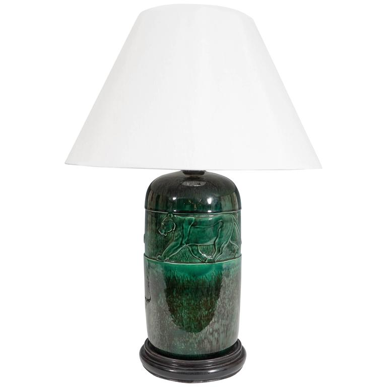 René Meynial Art Deco Green Ceramic Lamp with Panther