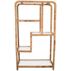 Rattan Etagere in the Styles of the Bielecky Bros or Milo Baughman