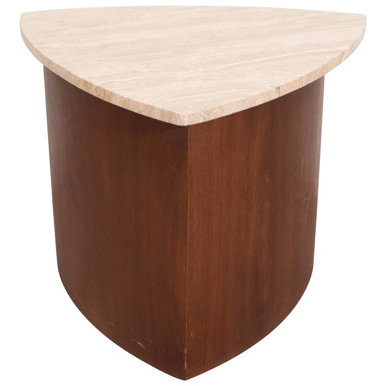 Wedge Accent Table in Walnut with Italian Travertine Top