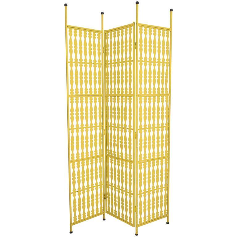 Arthur Umanoff Three-Panel Folding Screen in Yellow