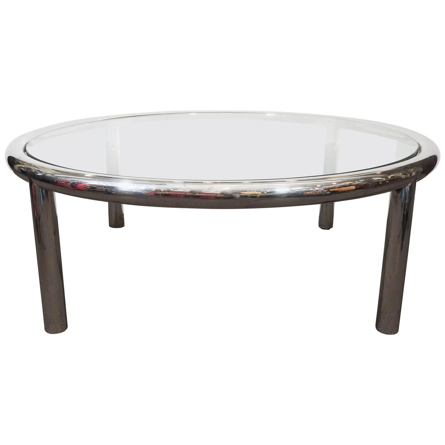 Tubular Chrome Glass Top Round Coffee Table For Sale At
