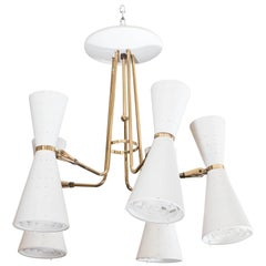 Lightolier Ten-Light Chandelier with Perforated Conical Shades