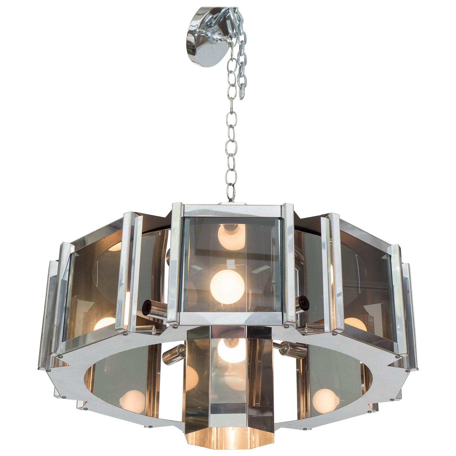 Frederick Ramond Octagonal Chandelier In Chrome And Gl At