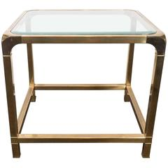 Mastercraft Glass Top Beveled Side Table in Brass