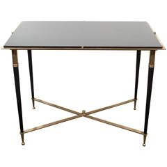 French Black Glass Top Side Table, in the Style of Maison Jansen