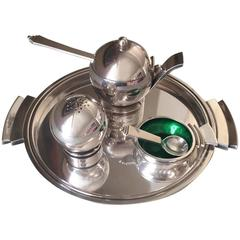 """Georg Jensen Sterling Silver """"Pyramid"""" Condiment Set No. 632/632A Harald Nielsen"""