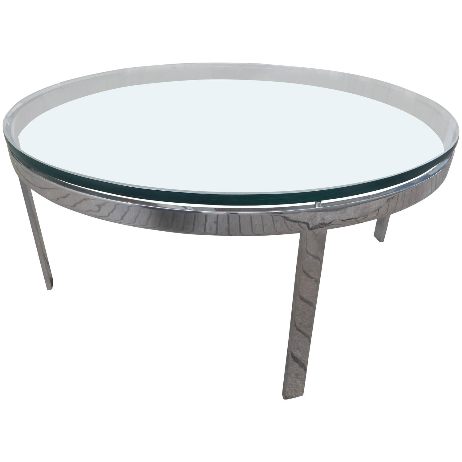 1970s Glass And Chrome Round Coffee Table At 1stdibs