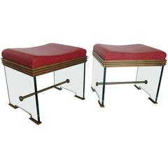 Pair of Italian Glass and Bronze Stools