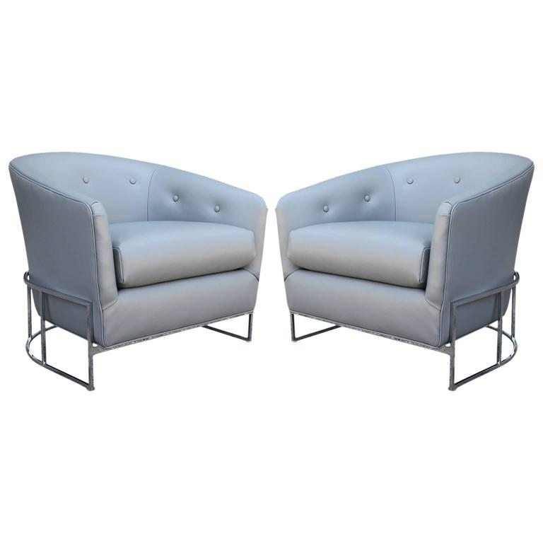 Pair of Milo Baughman Barrel Back Modern Club Chairs in Grey Leather