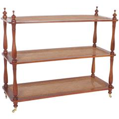 Three-Tiered Antique Cane Shelf Etagere or Set of Shelves in Mahogany