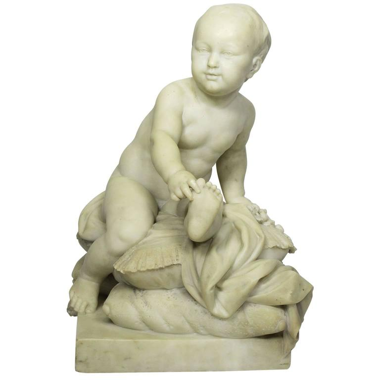 French 19th Century Carved White Marble Sculpture of a Young Prince on a Pillow