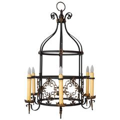Exceptional Spanish Revival Large-Scale Bronze and Iron Chandelier