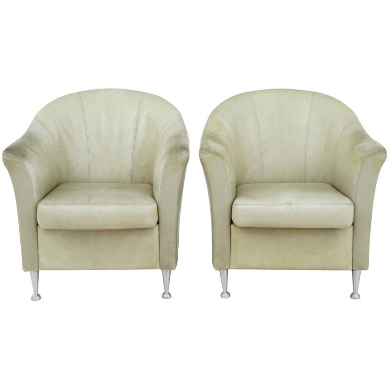 Pair of 1960s Leather Tub Armchairs