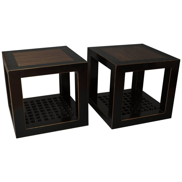 Pair of Chinese Black Lacquer Cube Tables