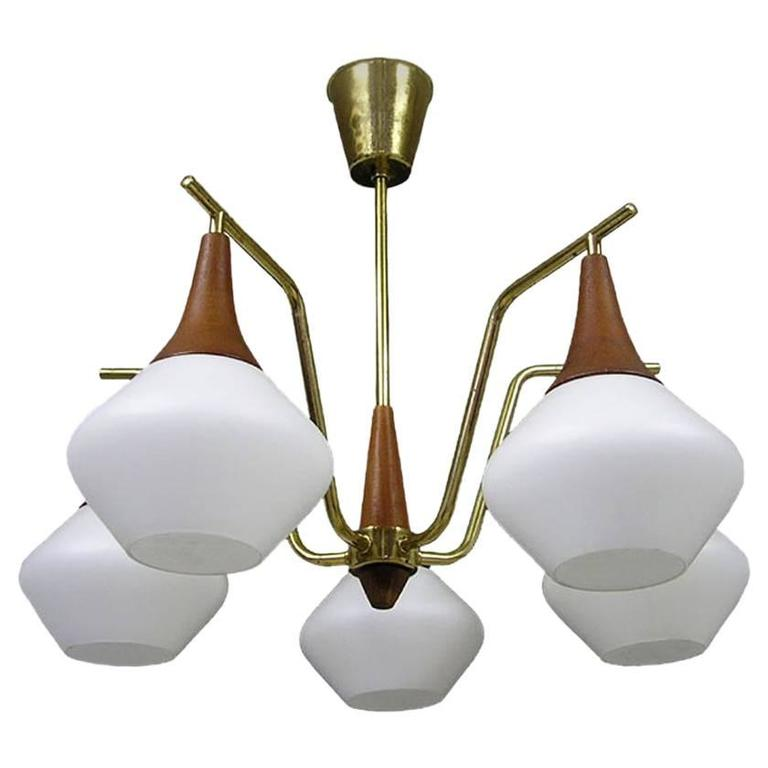 1950s Danish Modern Five-Light Teak and Brass Chandelier 1