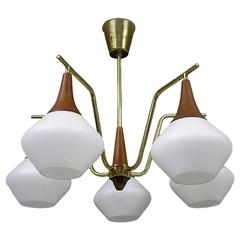 1950s Danish Modern Five-Light Teak and Brass Chandelier