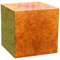 Milo Baughman Burl Cube Side Table