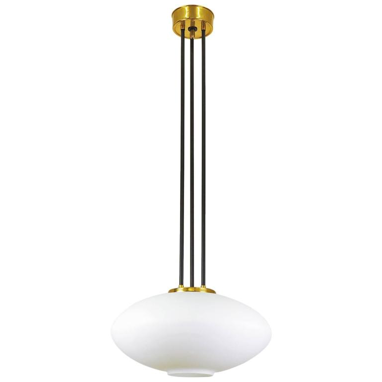 Stilnovo Satin Glass and Brass Pendant, circa 1960