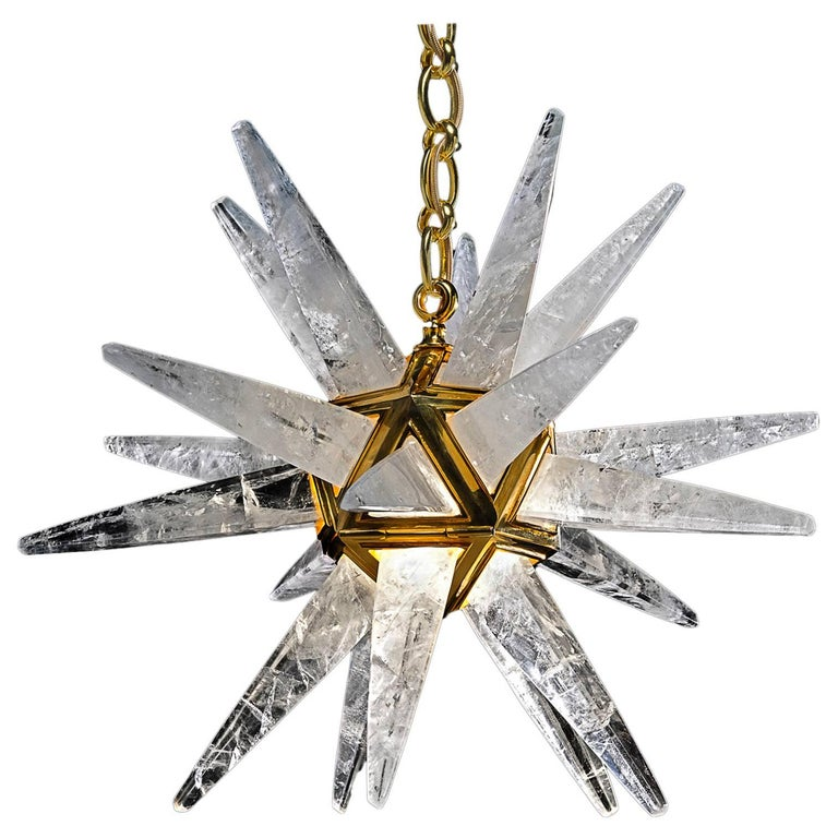 Rock Crystal Star III Chandelier by Alexandre Vossion For Sale