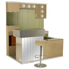 Bar with Counter Footboard and Stool Wood Fabric Mirrors, Italy, 1970s