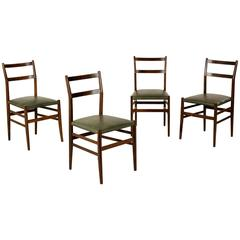Group Four Chairs by Gio Ponti Stained Ash Wood Leatherette Seat, Italy, 1950s