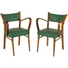 Two Chairs Beech Springs Vegetable Horsehair Leatherette, Italy, 1940s