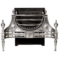 18th Century Polished Iron Antique Fire Basket in the Manner of Robert Adam