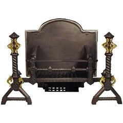 Cast Iron and Brass-Mounted Gothic Revival Antique Log Basket