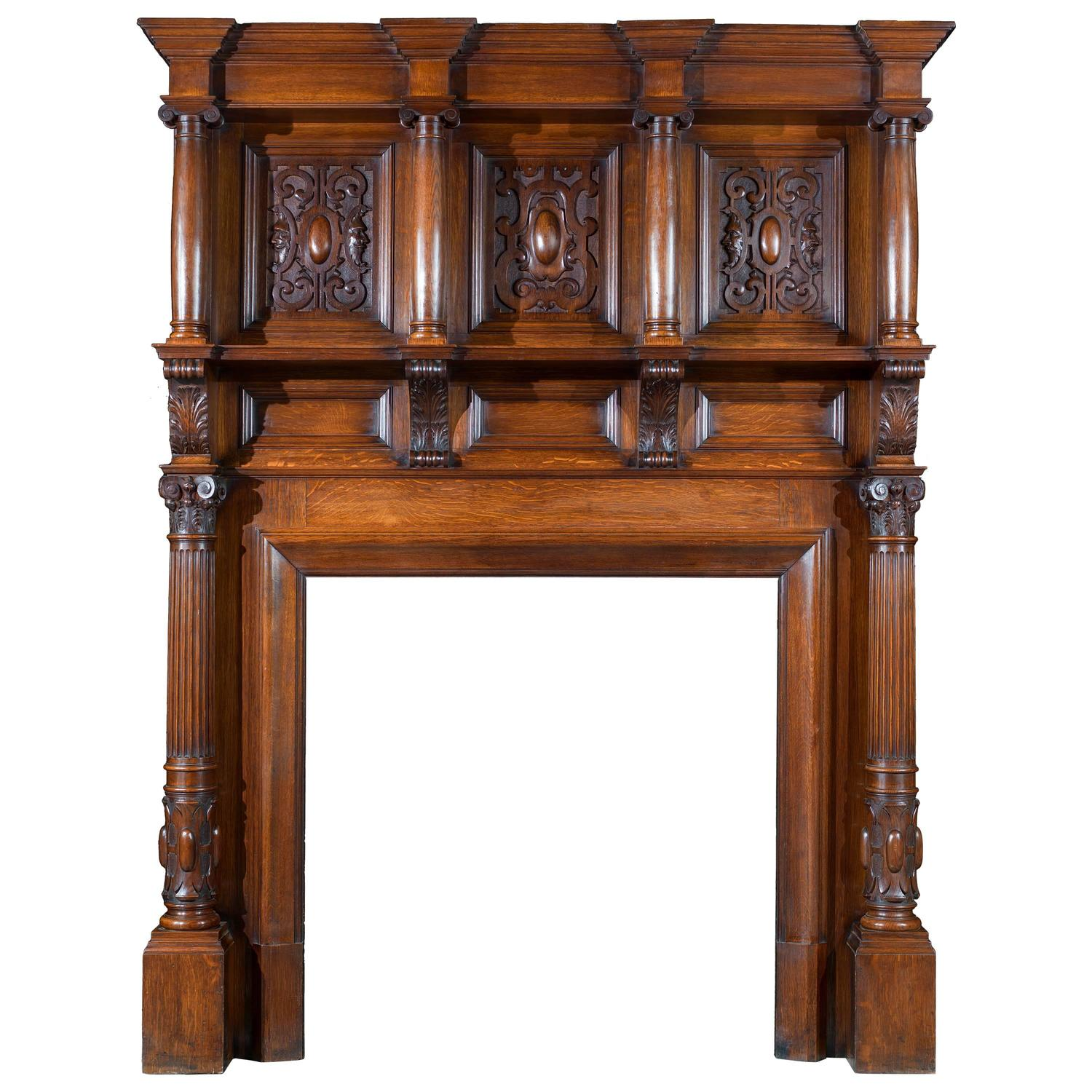 edwardian antique oak fireplace and overmantel in the jacobean