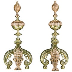 Pair of Antique Louis XIV Style Copper and Brass Andirons