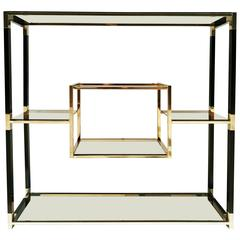 Etagere Brass and Glass Room Divider by Tratys from Italy, 1970s