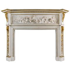 Rare 19th Century Statuary Marble and Gilded Ormolu Chimneypiece