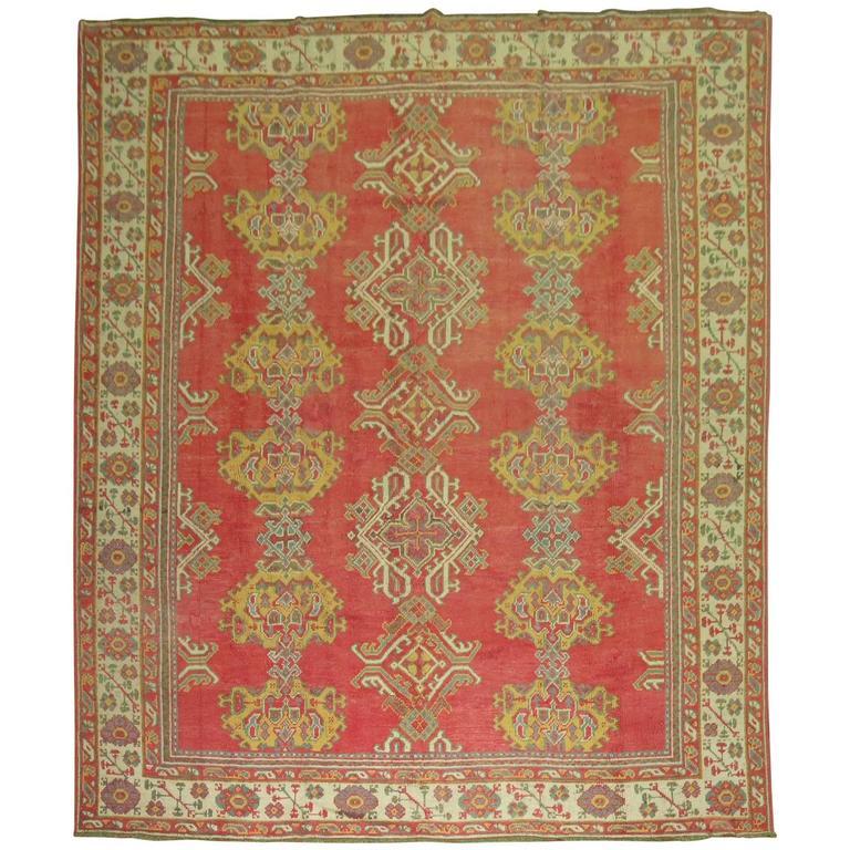Room Size Antique Turkish Oushak Carpet For Sale