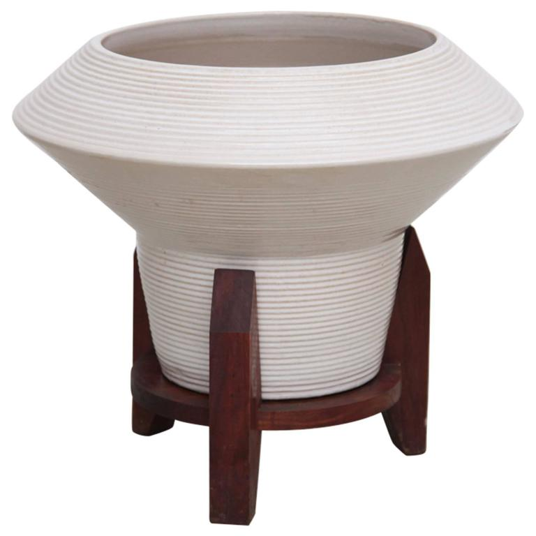 Huge Architectural Ceramic Planter With Stand By