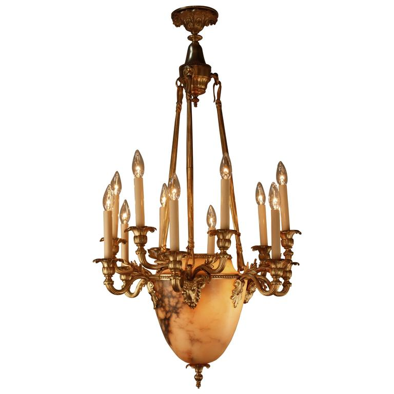 French Bronze and Alabaster Chandelier at 1stdibs