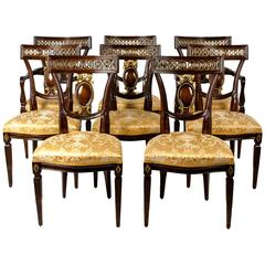Vintage European Mahogany Wood Eight Dining Chairs