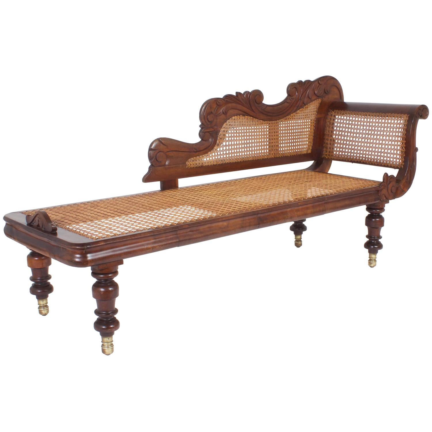 British colonial mahogany antique chaise longue at 1stdibs for Antique wooden chaise lounge