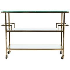 Mid-Century Wheeled Glass Bar Cart