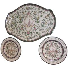 Chinese Platter and Plates, Green Pink and White Reproductions