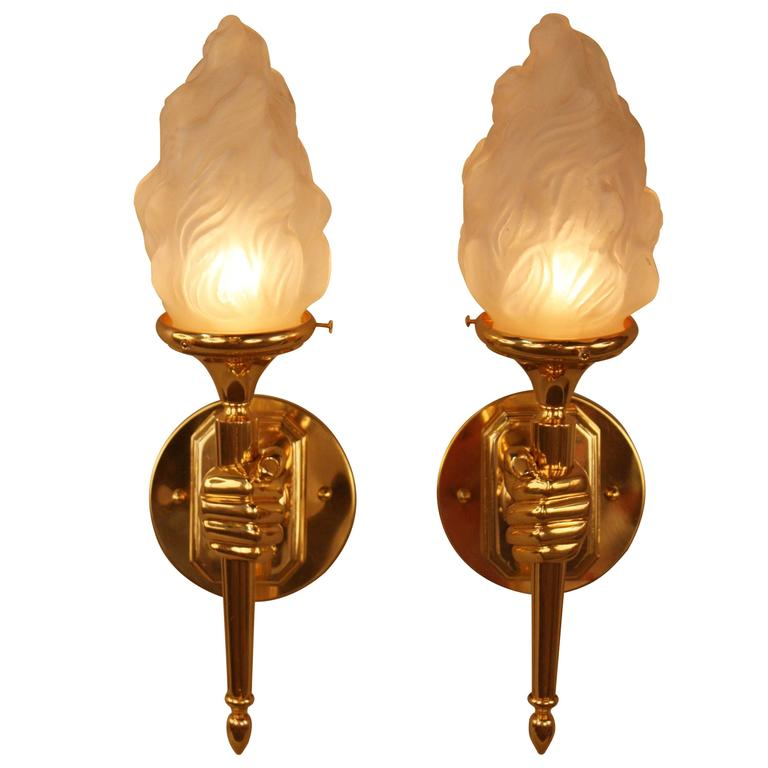 French Bronze Hand Hold Torch Wall Sconces At 1stdibs