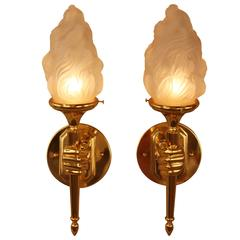 French Bronze Hand Hold Torch Wall Sconces