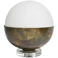 Mid-Century Modern Italian Stilnovo Fontana Arte Style Brass / Glass Table Lamp