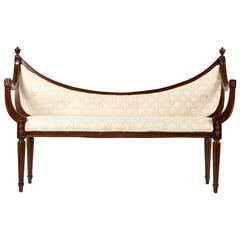 Antique French Scoop Back Settee