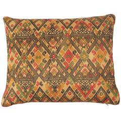 Silk Brocade Laos Silk Pillow.  Gold, red, yellow, green, black.