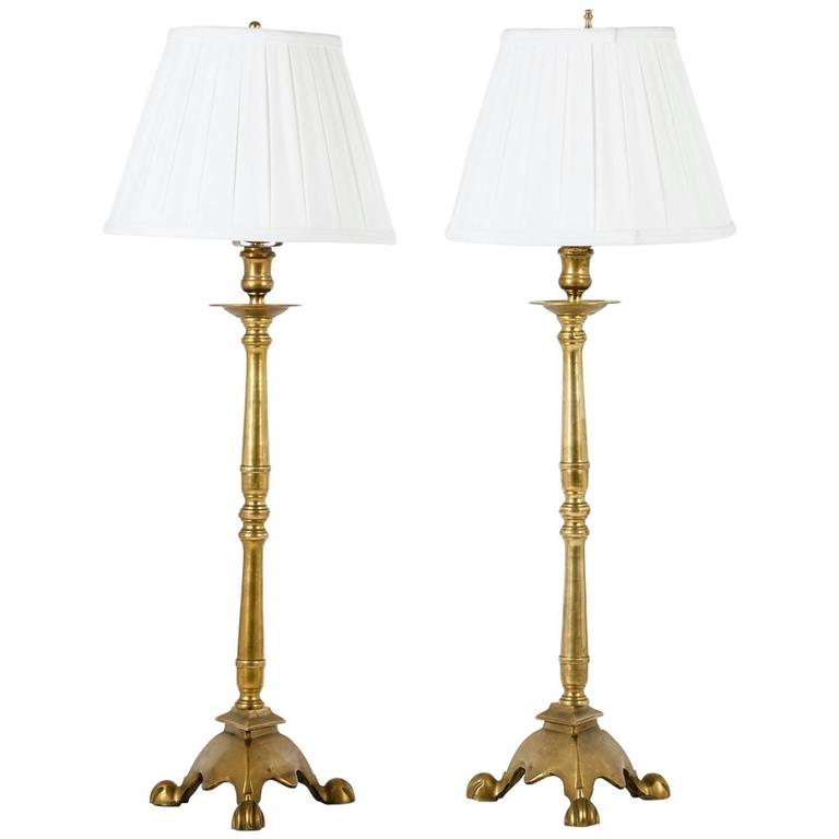 Vintage Pair Of Solid Brass Candlestick Lamps At 1stdibs